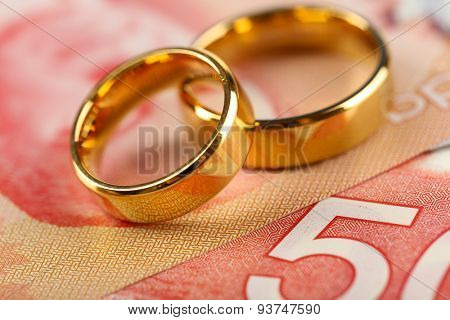 Golden wedding rings on banknotes background. Marriage of convenience