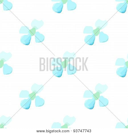 Watercolor White Blue Flower Seamless Vector Pattern Light Background. Small Daisies Summer, Daisy F