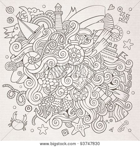 Doodles marine nautical vector background