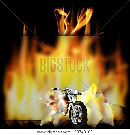 Motorbike, Chopper On Fire
