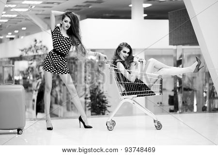 Beautiful Women With Shopping Trolley And Bag