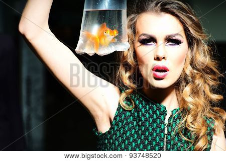 Dramatic Girl With Goldfish