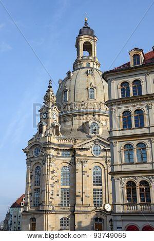 Frauenkirche On Background Of Bright Blue Sky, Dresden, Saxony, Germany.