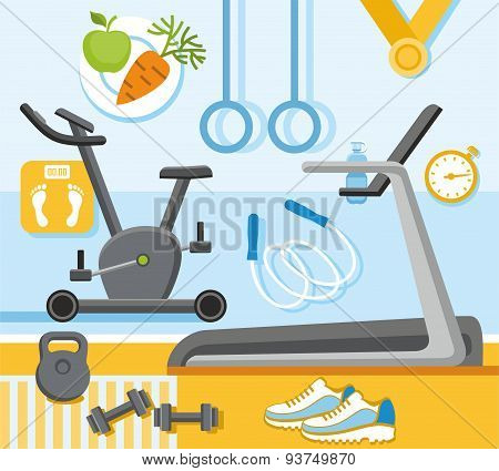 Fitness, Gym, Colored, Flat I...