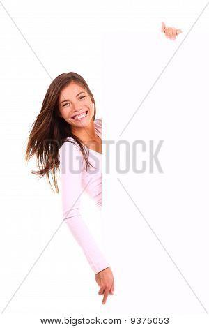 Woman Holding Billboard