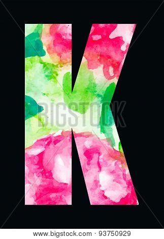 Flower type pink roses letter K