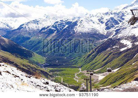 Funicular In Caucasus Mountains