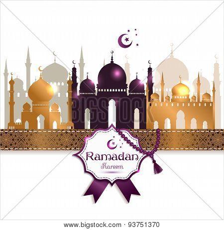 Vector Illustration Arabic Ramadan Kareem Frame, Design Celebratory Illustration With  Mosgue