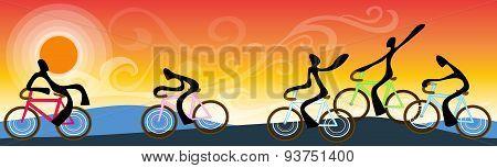 Bicycle Team Landscape Sunrise Sky