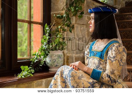 Portrait of a girl in a beautiful dress.
