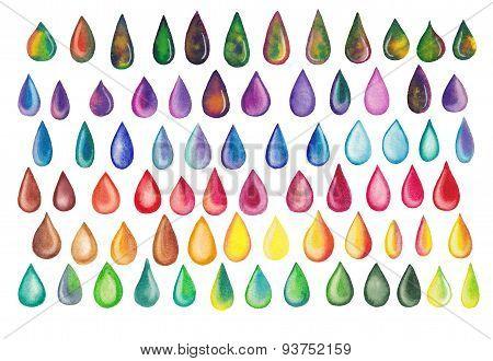 Colorful rainbow drops set