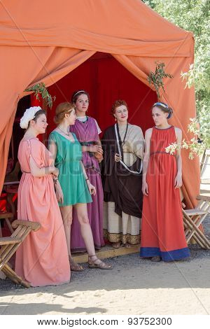 Five Women In Ancient Roman Costumes