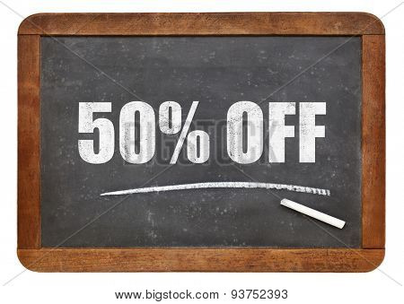 fifty percent off blackboard sign - text on an isolated  vintage slate blackboard