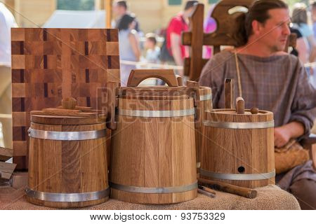 Vendor Selling Wooden Barrels