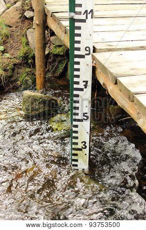 Water Gauge In A Mountain Stream