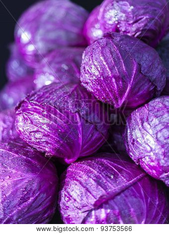 Purple cabbage in market place