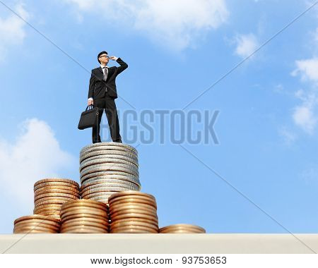 Business Man Stand On Money