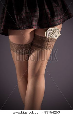 Thighs In Stockings And Dollars