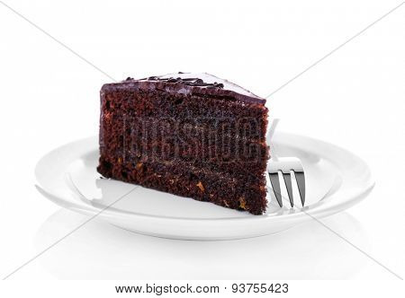 Piece of chocolate cake isolated on white