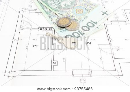 Money And Key Lying On The Housing Plan