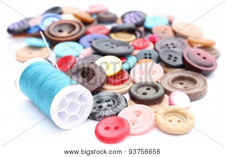 Blue Thread With Needle And Collection Of Colored Sewing Buttons