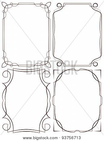 Vector Delicate Frames. Set On A White Background
