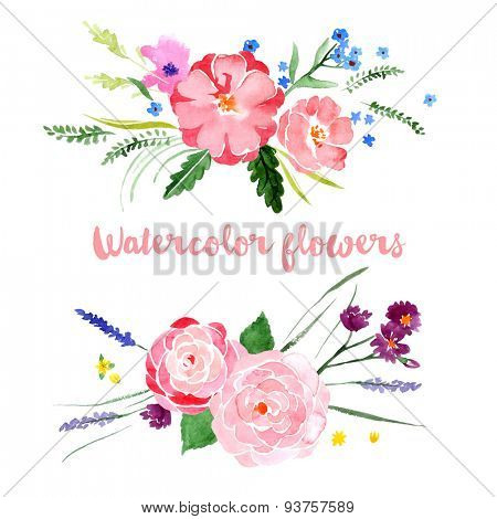 Watercolor floral borders on white background