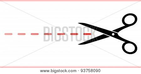 scissors with red dotted line