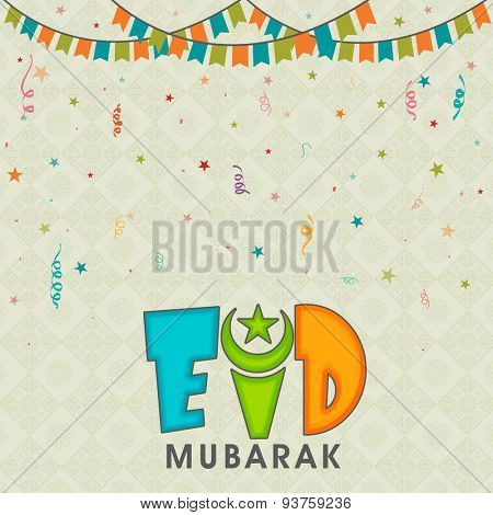 Elegant greeting card design decorated with colorful buntings on floral background for Islamic famous festival, Eid celebration.