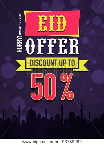 Eid Offer with 50% discount, Beautiful poster, banner or flyer design decorated with mosque for Muslim community festival celebration.
