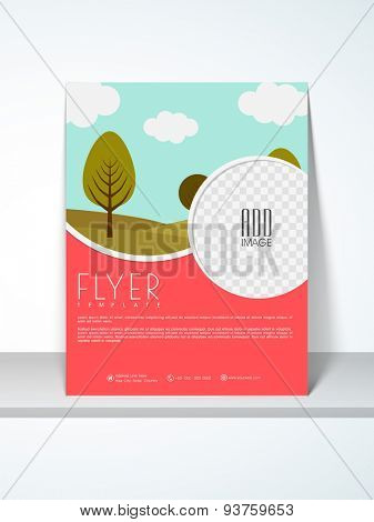 Ecological flyer, template or banner design with place holders for your image and content.