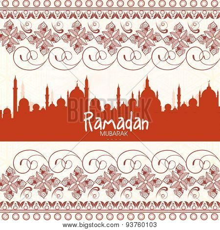 Beautiful floral design and mosque decorated greeting card for Islamic holy month of prayers, Ramadan Kareem celebration.
