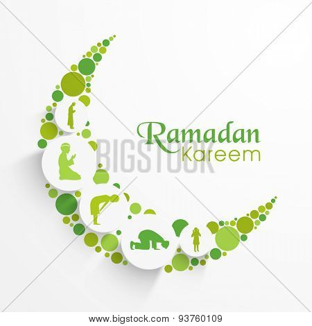Creative green crescent moon with illustration of religious Islamic people following their ritual for holy month of Muslim community, Ramadan Kareem celebration.