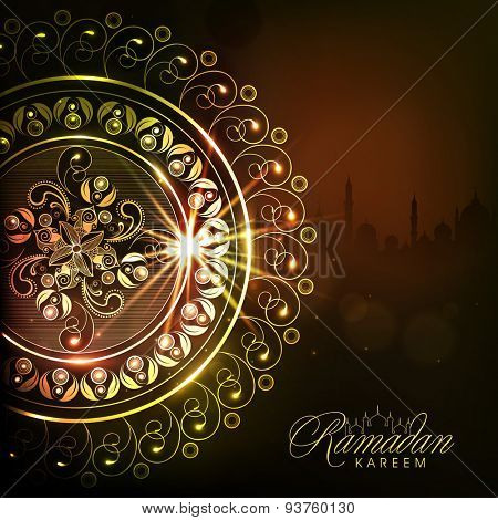 Beautiful shiny floral design with mosque silhouette on night background for Islamic holy month of prayers, Ramadan Kareem celebration.
