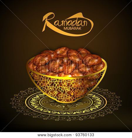 Sweet dates in traditional golden pot on shiny floral pattern for Islamic holy month of prayers, Ramadan Kareem celebration.