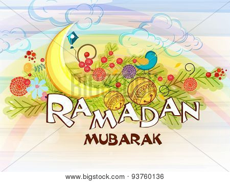 Golden crescent moon with decoration ball and colorful flowers for Islamic holy month of prayers, Ramadan Mubarak celebration.