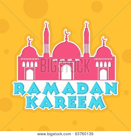 Pink Mosque with stylish text Ramadan Kareem on yellow background, can be used as sticker, tag or label design for Islamic holy month of prayers, celebration.