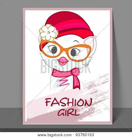 Girls fashion flyer, banner or template with cute kiddish cat.