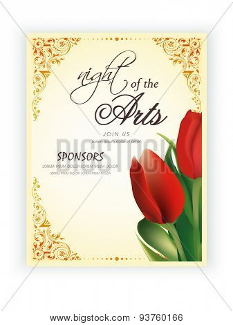 Beautiful template, banner or flyer design with flowers for Arts Exhibition or Night of the Arts.