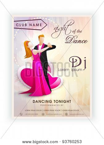 Beautiful invitation card design for Night Dance Party with illustration of a young dancing couple.