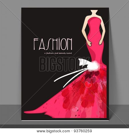 Stylish fashion flyer, banner or template design with model in long gown.