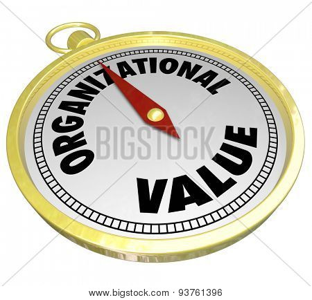 Organizational Value words on a gold compass to illustrate direction and guidance for decision making based on shared mission, goals, ethics and objectives