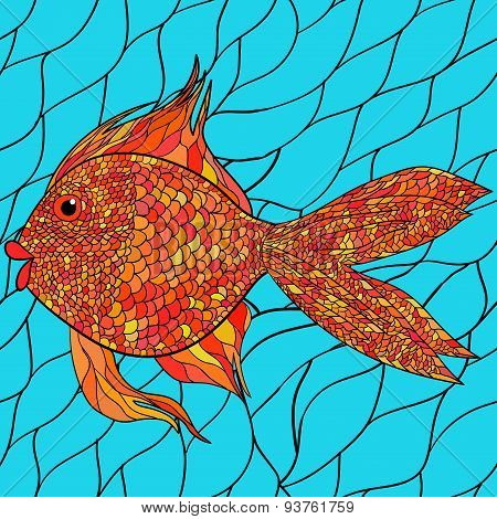 Seamlessly tiling fish pattern. Vector. 1