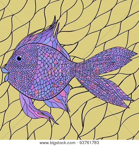 Seamlessly tiling fish pattern. Vector. 3