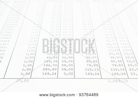 Closeup Of Business Data Report