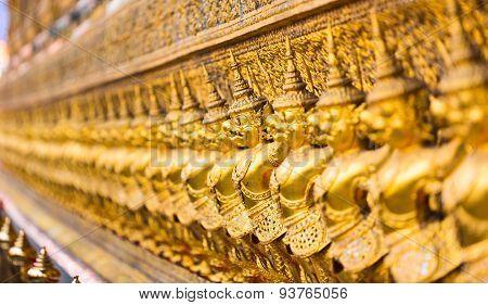 The ancient bird warriors. Wat Pho Temple in Bangkok.