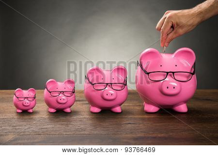 Person Hand Inserting Coin In Piggybank