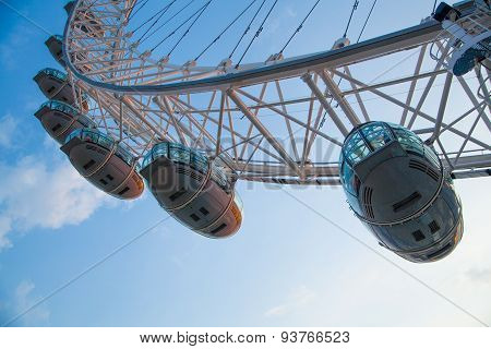 LONDON, UK - MAY 14, 2014 - LONDON, UK - MAY 14, 2014 London eye is a giant Ferris wheel opened on 3