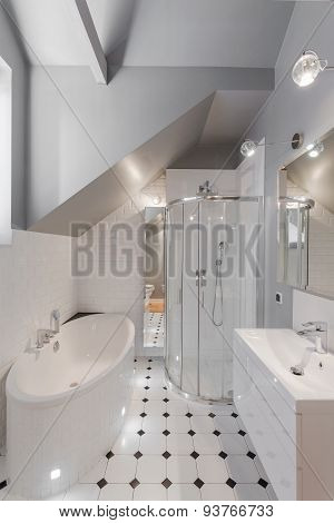 Narrow White Washroom