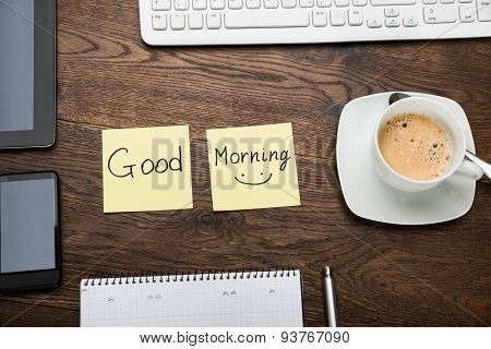 The Text Good Morning On Note With Cup Of Coffee
